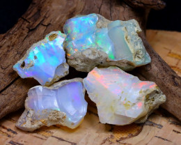 Welo Rough 34.77Ct Natural Ethiopian Play Of Color Rough Opal F2106