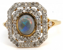 14.85CTS SOLID OPAL DIAMOND 14k GOLD ART DECO RING OF-1927