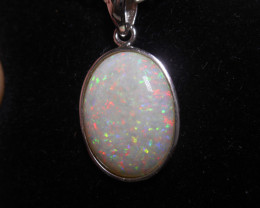 8ct Coober Pedy Solid White Opal Pendant, Sterling Silver. (#296)
