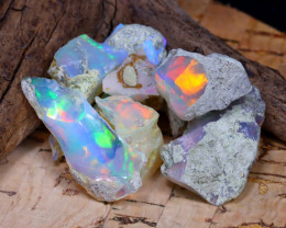 Welo Rough 32.89Ct Natural Ethiopian Play Of Color Rough Opal E2408