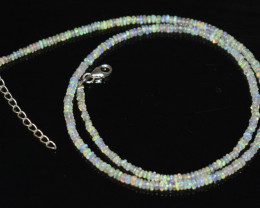 OPAL NECKLACE MADE WITH NATURAL ETHIOPIAN BEADS STERLING SILVER OBJ-168