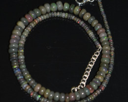 ETHIOPIAN OPAL BEADS NECKLACE BEADS STERLING SILVER OBJ-175