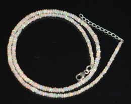 OPAL NECKLACE MADE WITH NATURAL ETHIOPIAN BEADS STERLING SILVER OBJ-176