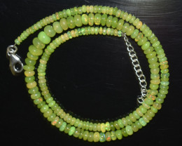 ETHIOPIAN OPAL BEADS NECKLACE BEADS STERLING SILVER OBJ-177