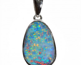925 ST/ SILVER RHODIUM PLATED OPAL DOUBLET PENDANT [FP18]