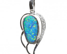 925 ST/ SILVER RHODIUM PLATED OPAL DOUBLET PENDANT [FP19]