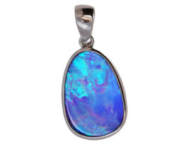 925 ST/ SILVER RHODIUM PLATED OPAL DOUBLET PENDANT [FP20]