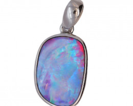 925 ST/ SILVER RHODIUM PLATED OPAL DOUBLET PENDANT [FP21]