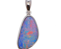925 ST/ SILVER RHODIUM PLATED OPAL DOUBLET PENDANT [FP22]