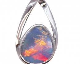 925 ST/ SILVER RHODIUM PLATED OPAL DOUBLET PENDANT [FP23]