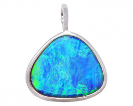 925 ST/ SILVER RHODIUM PLATED OPAL DOUBLET PENDANT [FP24]