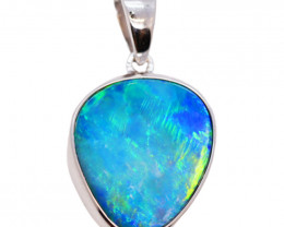 925 ST/ SILVER RHODIUM PLATED OPAL DOUBLET PENDANT [FP25]