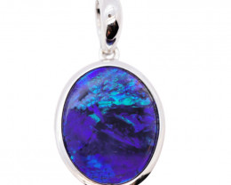 925 ST/ SILVER RHODIUM PLATED OPAL DOUBLET PENDANT [FP28]
