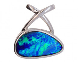 925 ST/ SILVER RHODIUM PLATED OPAL DOUBLET PENDANT [FP29]