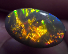 1.25ct TOP GEM Lighting Ridge Solid dark Opal Muitiple Gem colors
