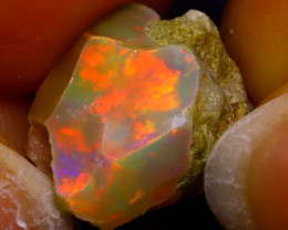 6.55Ct Multi Color Play Ethiopian Welo Opal Rough JF0318/R2