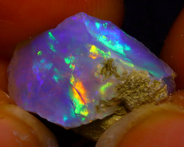6.36Ct Multi Color Play Ethiopian Welo Opal Rough J0402/R2