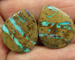 66cts, BOULDER PIPE OPAL~LOVELY PAIR.