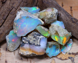 Welo Rough 37.62Ct Natural Ethiopian Play Of Color Rough Opal E0107