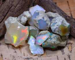 Welo Rough 35.65Ct Natural Ethiopian Play Of Color Rough Opal E0110
