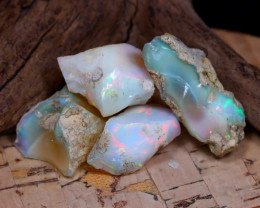 Welo Rough 31.99Ct Natural Ethiopian Play Of Color Rough Opal D0501