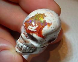 Skull Mexican Matrix Cantera Multicoloured Fire Opal