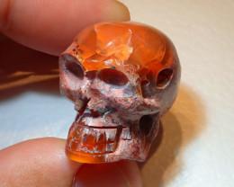 $1 NR Auction Pendant Skull Mexican Matrix Cantera Multicoloured Fire Opal