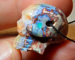 Skull Pendant Mexican Matrix Cantera Multicoloured Fire Opal