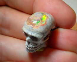 Skull Mexican Matrix Cantera Multicoloured Fire Opal