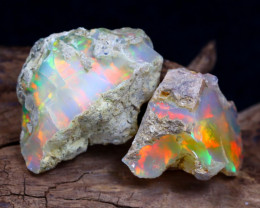Welo Rough 24.42Ct Natural Ethiopian Play Of Color Rough Opal D0602