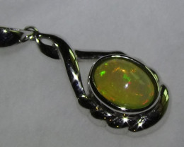 Opal Womans 925 Sterling Silver Solid Crystal Opal Pendant *