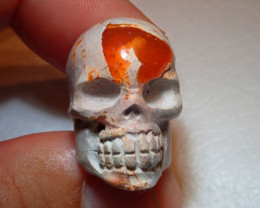 100ct Skull Carved Mexican Cantera Fire Opal