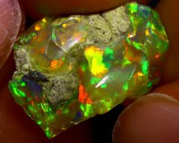 7.26Ct Multi Color Play Ethiopian Welo Opal Rough J0907/R2