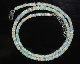 OPAL NECKLACE MADE WITH NATURAL ETHIOPIAN BEADS STERLING SILVER OBJ-182