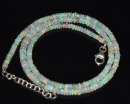 OPAL NECKLACE MADE WITH NATURAL ETHIOPIAN BEADS STERLING SILVER OBJ-184