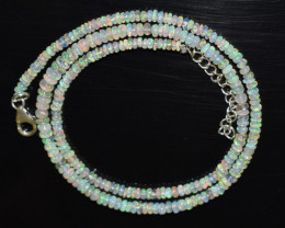 OPAL NECKLACE MADE WITH NATURAL ETHIOPIAN BEADS STERLING SILVER OBJ-186