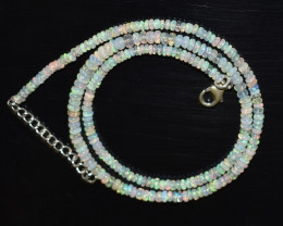 OPAL NECKLACE MADE WITH NATURAL ETHIOPIAN BEADS STERLING SILVER OBJ-188