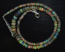 ETHIOPIAN OPAL BEADS NECKLACE BEADS STERLING SILVER OBJ-192
