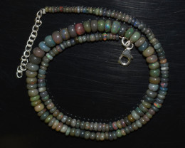 ETHIOPIAN OPAL BEADS NECKLACE BEADS STERLING SILVER OBJ-196