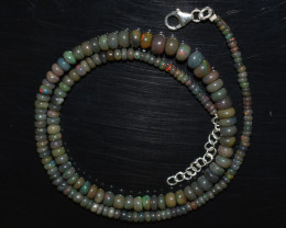 ETHIOPIAN OPAL BEADS NECKLACE BEADS STERLING SILVER OBJ-198