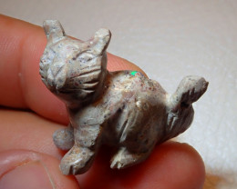 Cat Mexican Carving Figurine Fire Opal