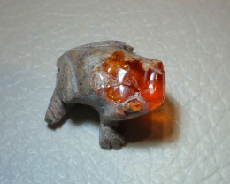 Gemmy Frog Mexican Carving Figurine Fire Opal