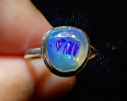 5.7sz Natural Mexican Opal .925 Sterling Silver Ring