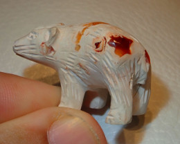 Bear Mexican Carving Figurine Fire Opal