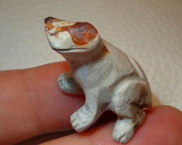 Frog Mexican Carving Figurine Fire Opal