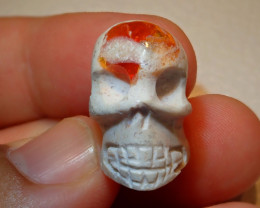 Skull Mexican Carving Figurine Fire Opal