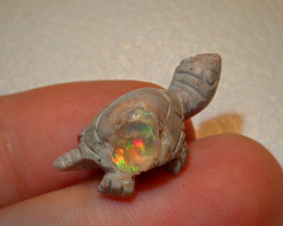 Turtle Mexican Carving Figurine Fire Opal