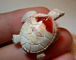 Natural Fire Matrix Opal Hand Carved Mexican Figurine Turtle