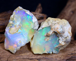 Welo Rough 18.75Ct Natural Ethiopian Play Of Color Rough Opal D0906