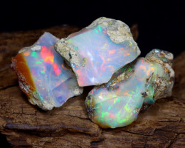 Welo Rough 22.99Ct Natural Ethiopian Play Of Color Rough Opal E0902